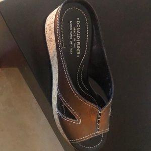 Donald J Pliner Bronze Wedge Sandals